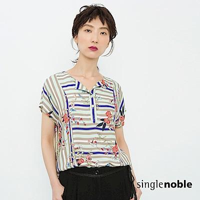 獨身貴族 玩美盛夏花藝條紋開襟上衣(2色)