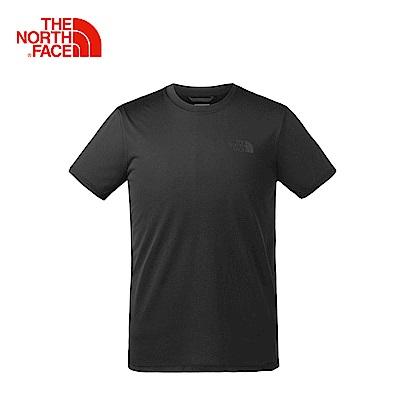 The North Face北面男款黑色吸濕排汗戶外運動短T恤|3GDUJK3