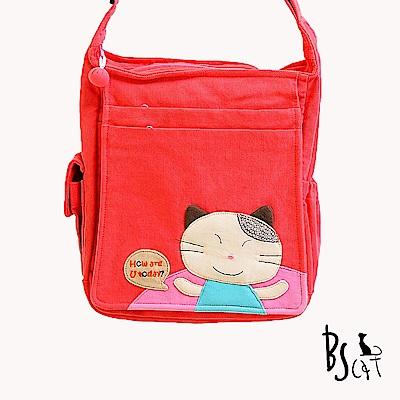 ABS貝斯貓 微笑貓咪打招呼 可肩背斜背兩用拼布側包(甜心粉)88-020