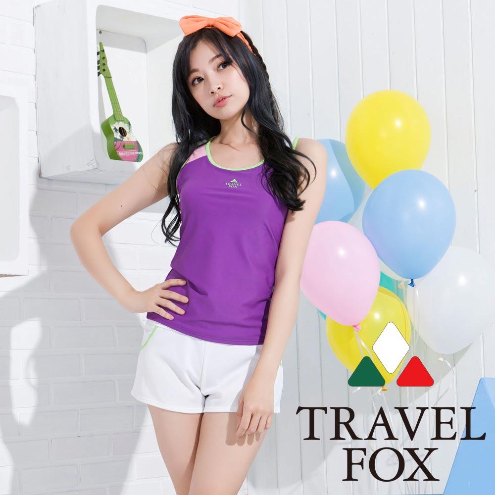 夏之戀TRAVEL FOX 亮麗紫長版三件式泳衣