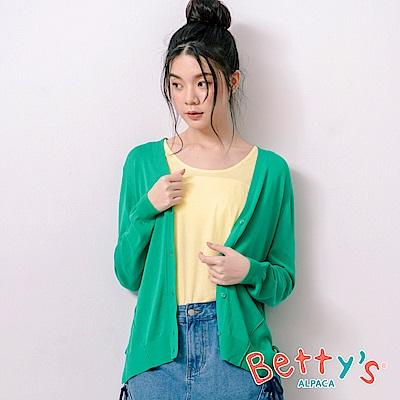 betty's貝蒂思 典雅側開衩蝴蝶結針織罩衫(綠色)
