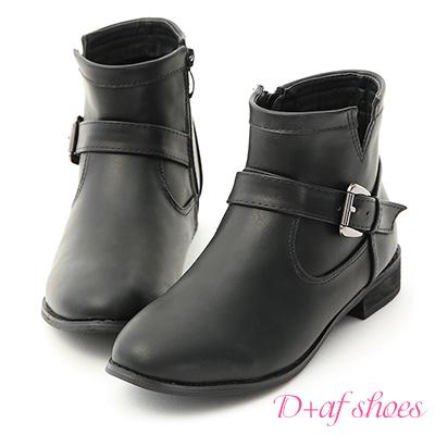 D+AF 率性指標.金屬雙釦環低跟短靴*黑