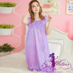 睡衣 全尺碼 蕾絲蝶結荷葉擺冰絲短袖連身裙睡衣(浪漫淺紫) Sexy Meteor