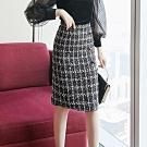 設計所在Lady-呢子高腰短裙小香風格子及膝裙(S-XL可選)
