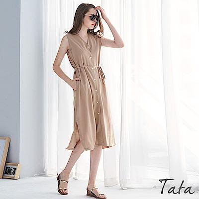 無袖單排扣綁帶長洋裝 共二色 TATA