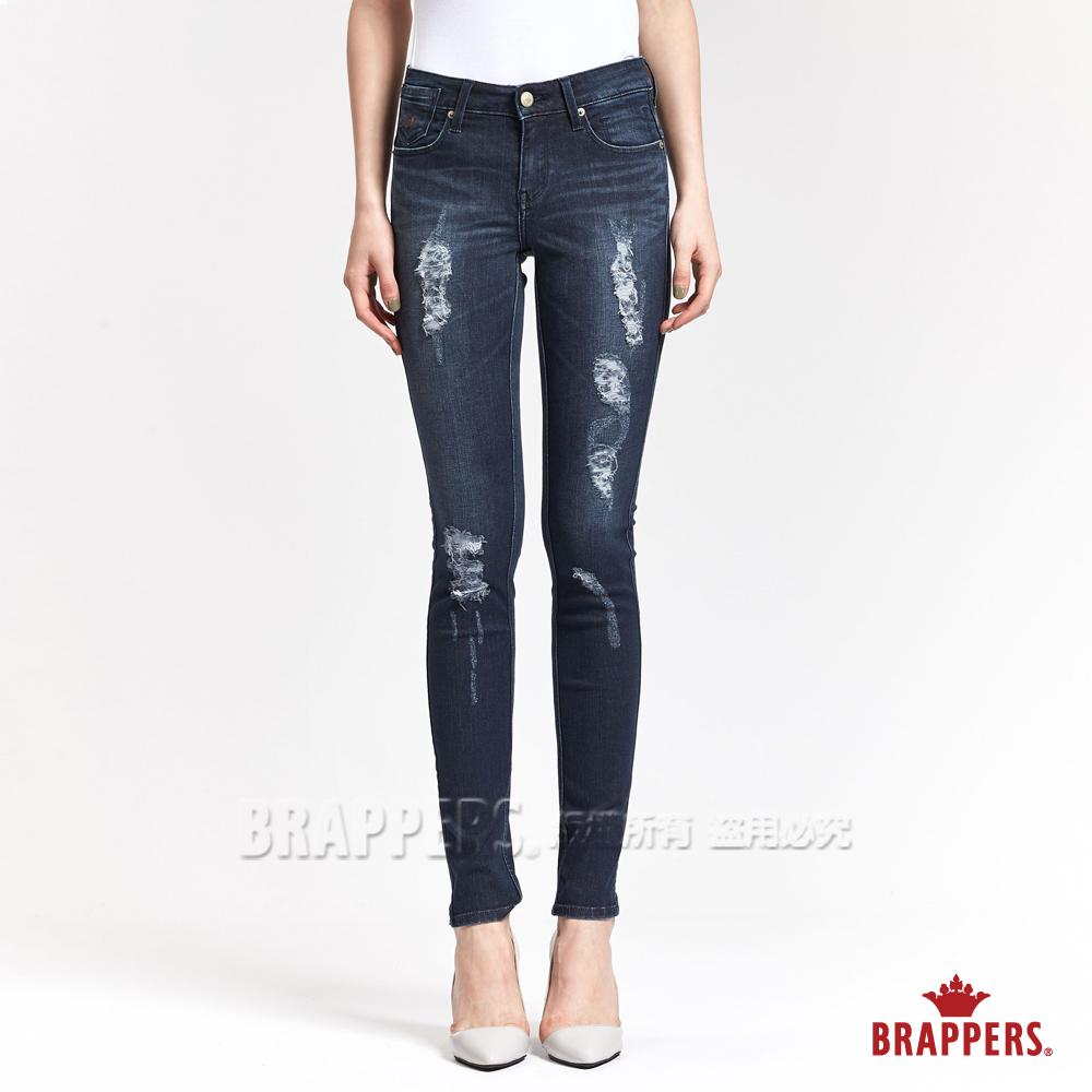 BRAPPERS 女款 新美腳ROYAL系列-女用彈性不規則割破窄管褲-藍