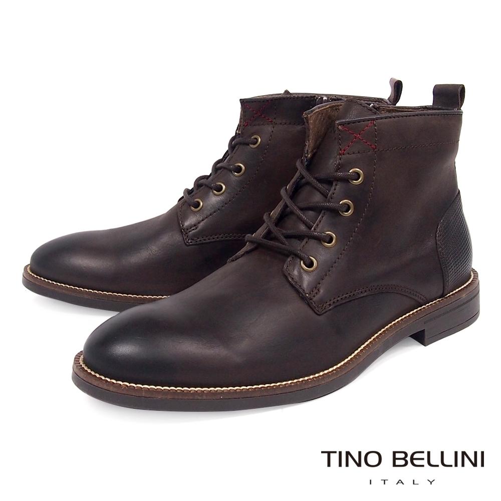 TINO BELLINI 男款葡萄牙進口牛皮原色休閒粗曠工裝靴-咖啡