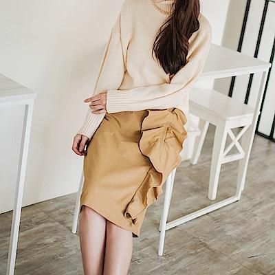 立體感側邊荷葉設計棉感中長裙.2色-OB大尺碼