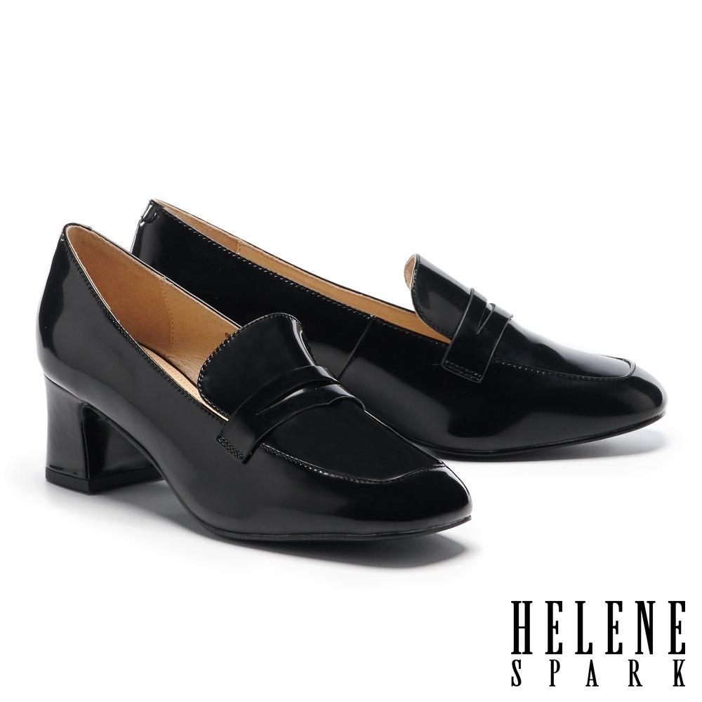 高跟鞋 HELENE SPARK 經典復古純色方頭樂福高跟鞋-黑