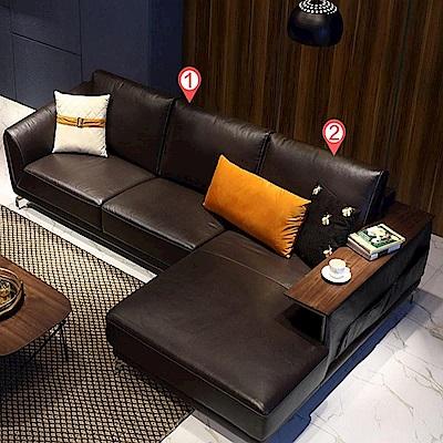 hoi! 現代簡約頭層牛皮L型左貴妃三人皮沙發(附抱枕)RAP1K-深棕色 (H014216001)