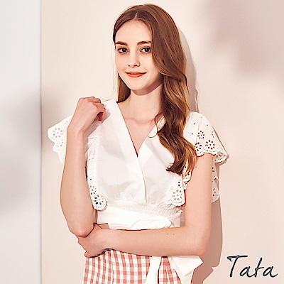 大V領鏤空花朵飛袖綁帶上衣 TATA-(S/M)
