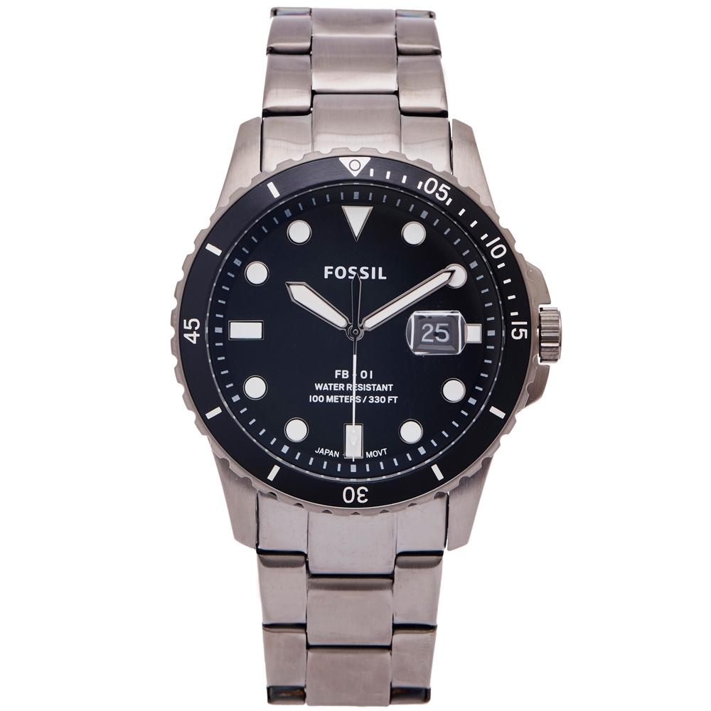 FOSSIL 黑水鬼款式不鏽鋼錶帶手錶(FS5655)-黑面X黑色/42mm