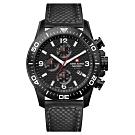 阿爾卑斯軍錶S.A.M 紅色警戒系列三眼計時-黑錶殼/黑錶盤/牛皮錶帶/45mm