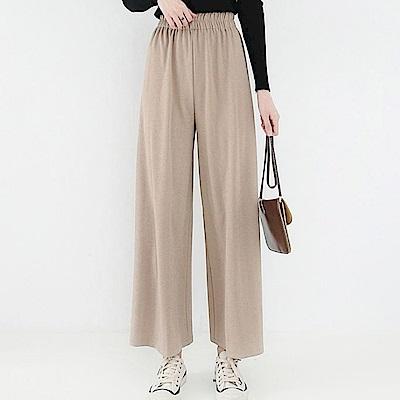 La Belleza直條紋高腰鬆緊腰垂感薄款冰絲棉九分闊腿褲