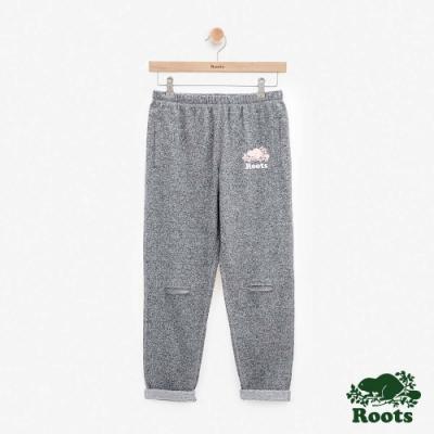 女裝Roots- 九分破洞毛圈布棉褲-灰色