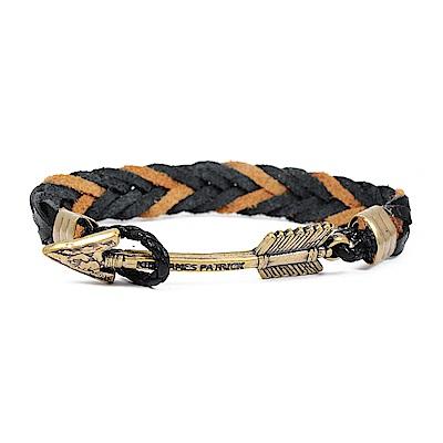Kiel James Patrick 美國手工箭矢皮革編織單圈手環 棕黑編織