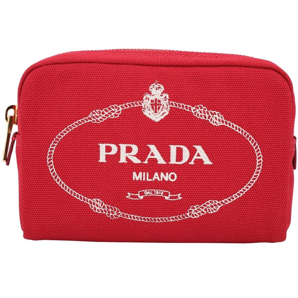 PRADA Canvas 牛仔帆布化妝包(紅色)