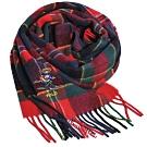 RALPH LAUREN POLO 滑雪小熊刺繡LOGO蘇格蘭格紋羊毛圍巾(紅綠格)