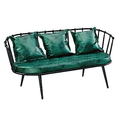 文創集 麥沛納工業風皮革三人座沙發椅-158x69x75cm免組