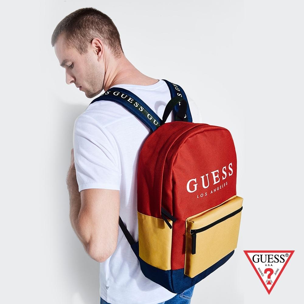 GUESS-男包-時尚撞色經典LOGO後背包-紅