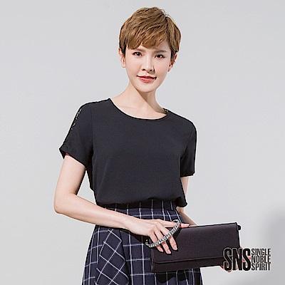 SNS 簡約袖拼接星狀蕾絲雪紡上衣(2色)