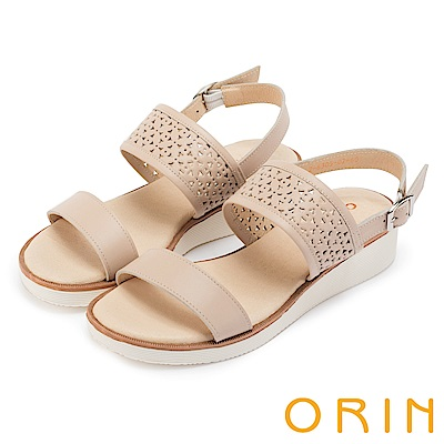 ORIN 夏日渡假 造型簍空牛皮厚底涼鞋-杏色