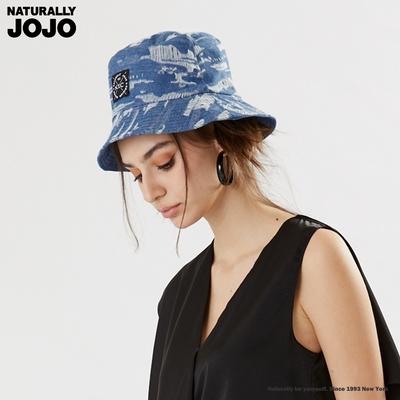 【NATURALLY JOJO】   個性刷破牛仔漁夫帽 (淺藍)
