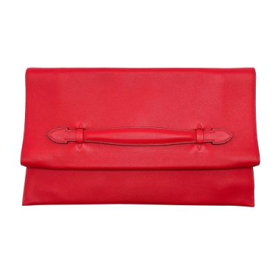 HERMES Swift pliplat clutch 牛皮手拿包(紅)