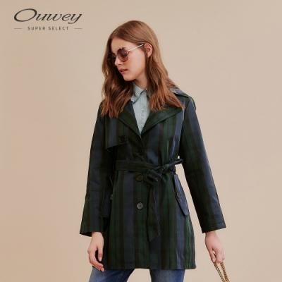 OUWEY歐薇 經典格紋綁帶風衣外套(藍)
