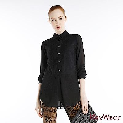 KeyWear奇威名品    日本進口典雅黑織花拼接雪紡長袖襯衫-黑色