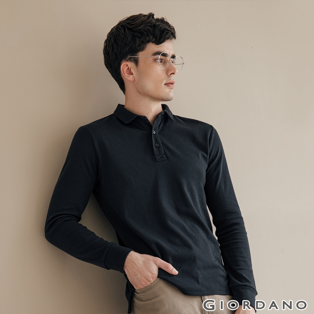 GIORDANO 男裝素色長袖POLO衫 - 09 標誌黑