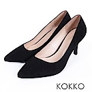 KOKKO - 經典素面鞋切尖頭麂皮高跟鞋- 黑