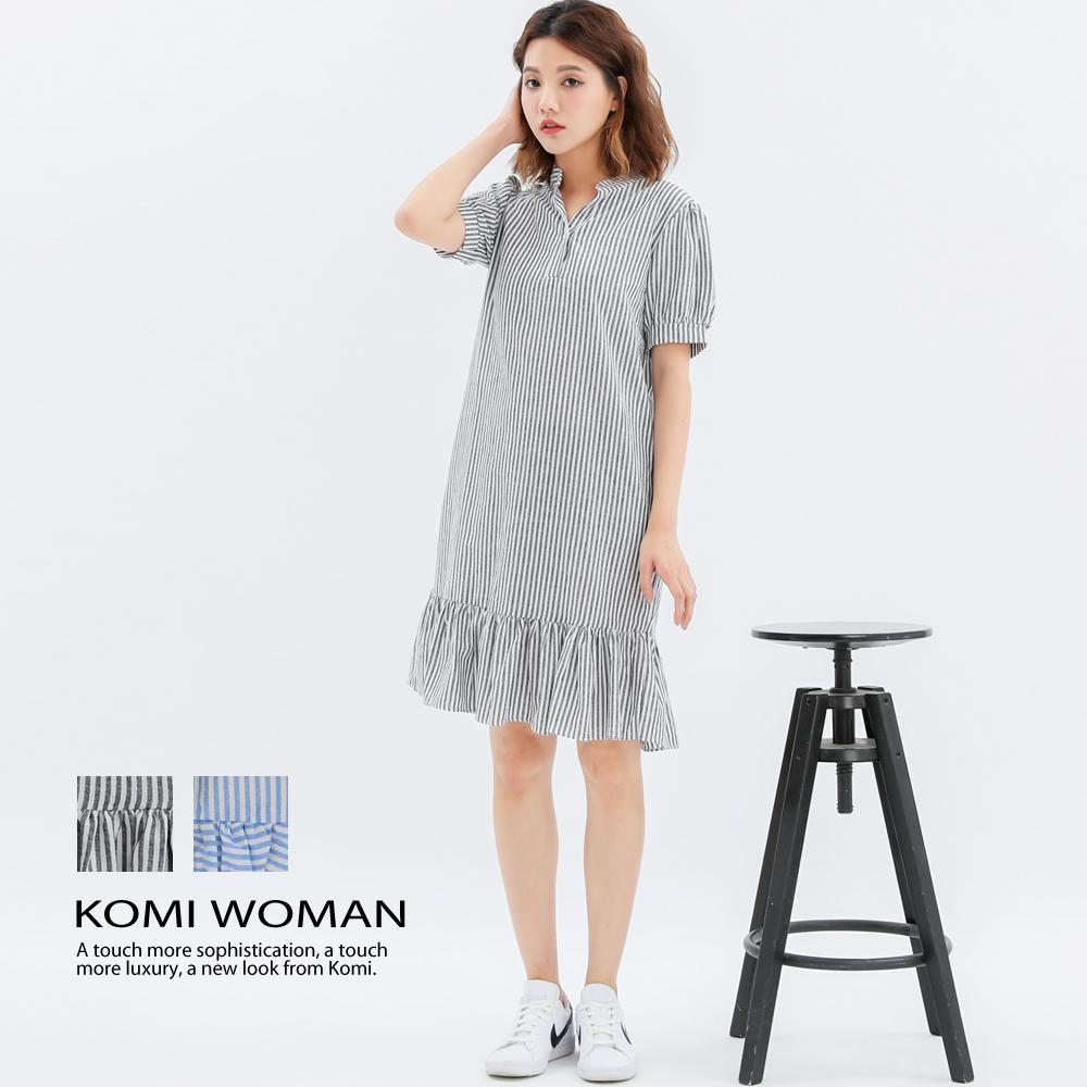 【KOMI】條紋小立領荷葉棉洋裝-二色