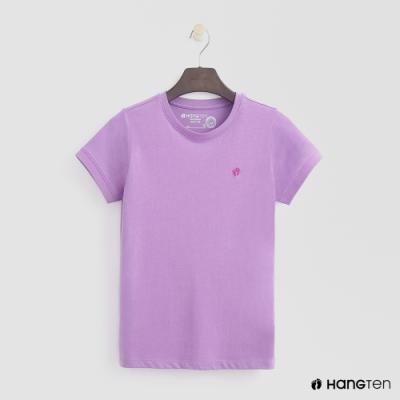 Hang Ten -女裝 - 有機棉 - logo圓領純色T恤 - 紫