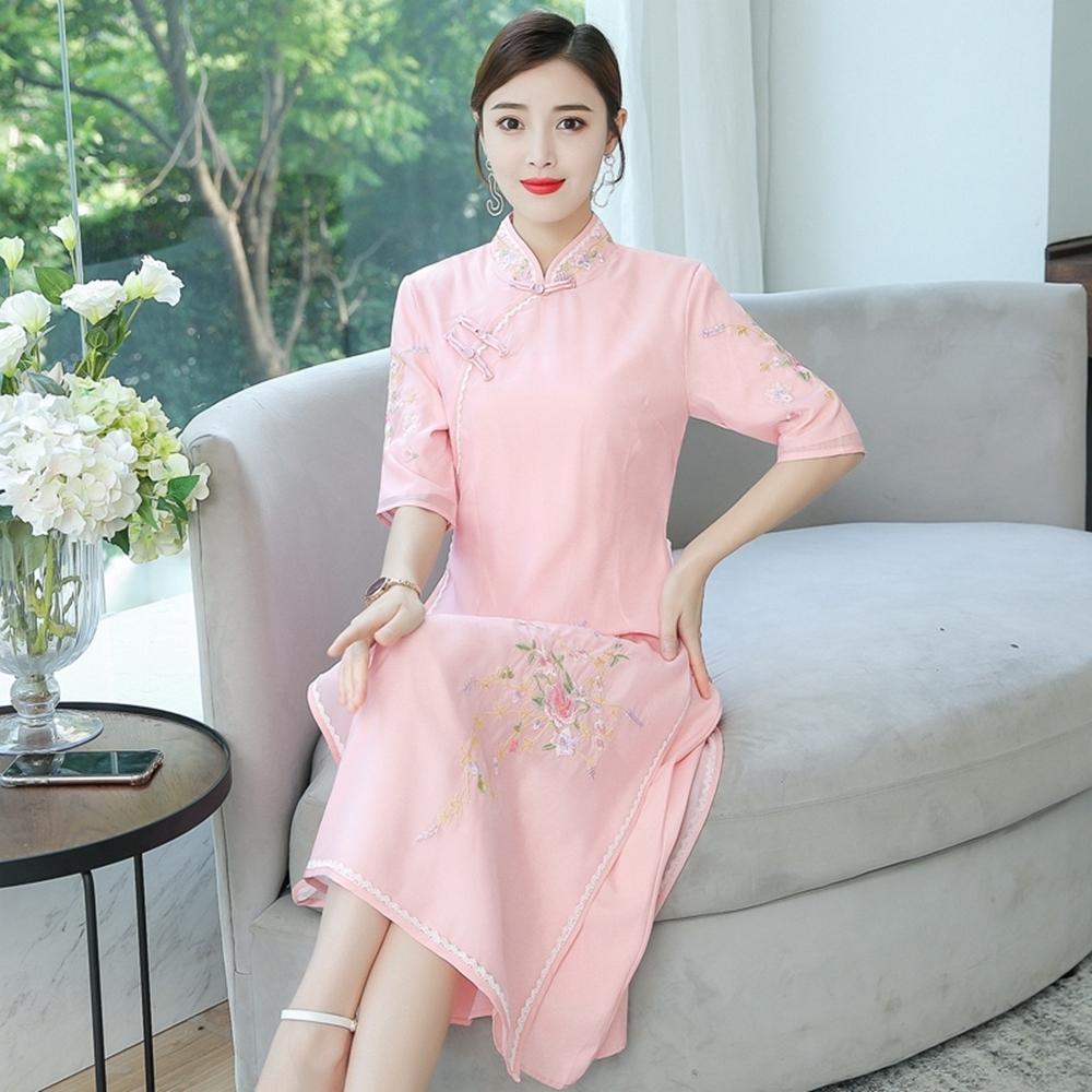 中國風顯瘦復古刺繡印花旗袍洋裝S-2XL(共二色)REKO