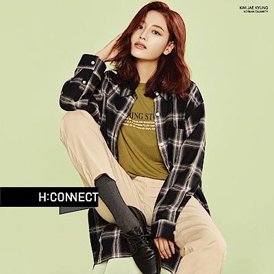H:CONNECT 韓國品牌 女裝-休閒長版格紋襯衫-黑