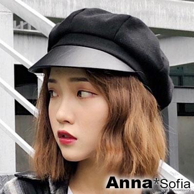 AnnaSofia 皮革簷軟絨質 混棉報童帽貝蕾帽(酷黑系)