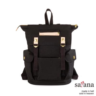 satana - 漫遊拉鍊後背包 - 黑色