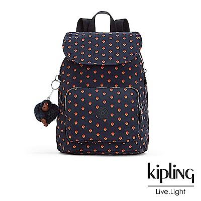 Kipling 後背包 紅黃幾何印花 -大