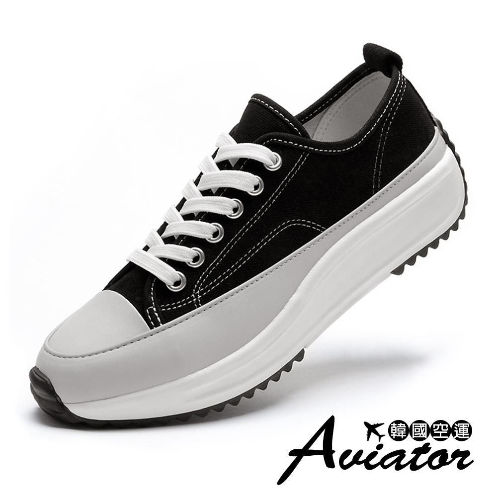 Aviator韓國空運-顯瘦簡約金屬厚底休閒鞋-紙飛機預