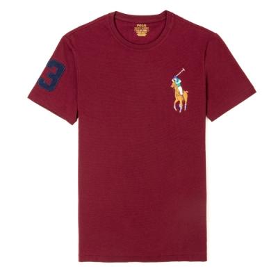 Polo Ralph Lauren 年度熱銷刺繡彩大馬圓領素面短袖T恤-紅色