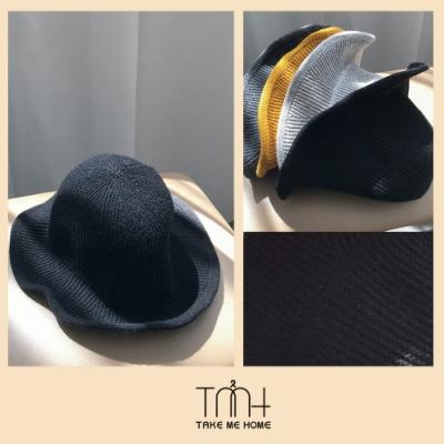 TMH- 韓國空運 直條紋針織漁夫帽-7色