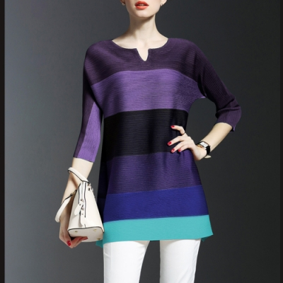 M@F摺衣 撞色拼條壓褶衣- 紫色