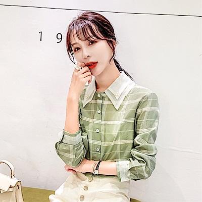 DABI 韓國風格紋復古雪紡襯衫長袖上衣