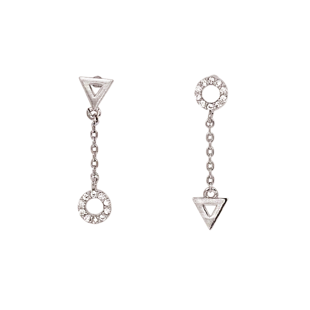 LOVERS TEMPO加拿大品牌 圓圈三角造型鑲嵌鋯石 銀色垂墜耳環