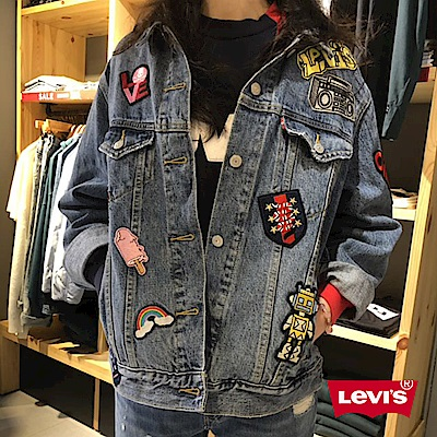 Levis 女款 牛仔外套 Baggy寬版 徽章刺繡