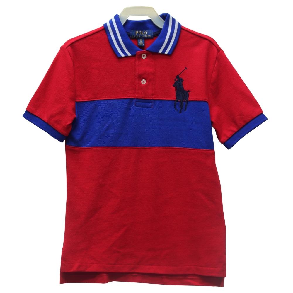 Ralph Lauren 大童大馬短袖數字 67 POLO衫-紅藍