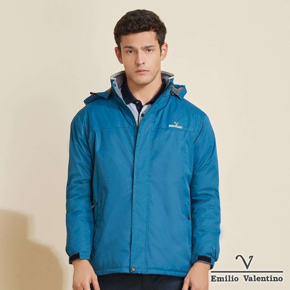 Emilio Valentino范倫鐵諾簡約拼接防潑水保暖搖粒鋪棉連帽外套_湖藍(22-K3251)