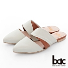 【bac】紐約不夜城 - 摩登復古拼色兩截式穆勒鞋半包平底鞋-米色