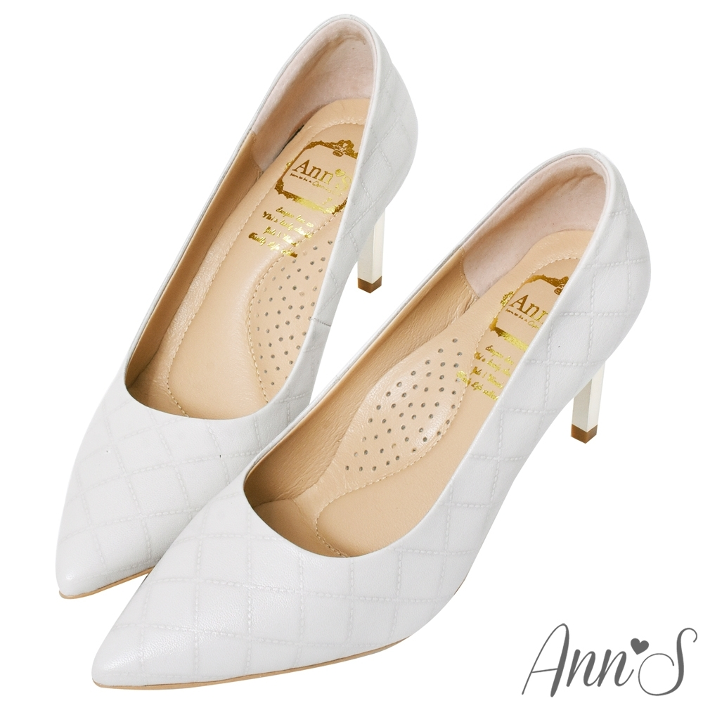 Ann'S嚮往的女人味-小香菱格紋小羊皮電鍍細跟尖頭高跟鞋-白